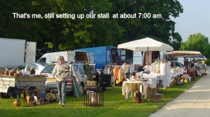 Setting up for the annual Brocante at Chateau Javersay about 15 miles from home.